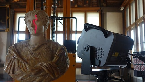 A sculpture is scanned as part of the process to digitize the art in 3D. (photo courtesy Indiana University)