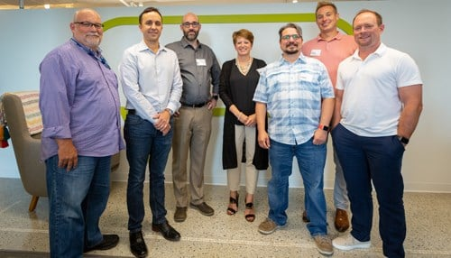 (L-R) VP Bill Lilegdon, CPO Brandon Ridenour, CTO Ryan Sullivan, Co-Founder Angie Hicks, VP Chris Navta, VP Chris Campbell, COO Craig Smith