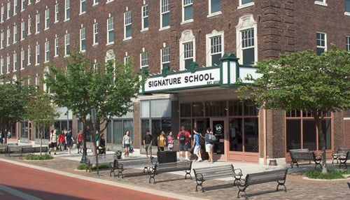 Pictured: Signature School in downtown Evansville.