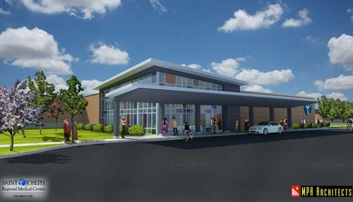 Rendering of emergency center courtesy of Saint Joseph Health System.