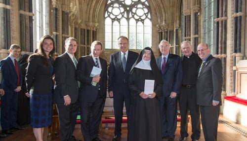 A recent commencement of work ceremony at Kylemore Abbey featured (from the left): Lisa Caulfield, Warren von Eschenbach, Enda Kenny, Nicholas Entrikin, Abbess Maire Hickey, Martin Naughton, Rev. Tim Scully and Kevin Whelan.