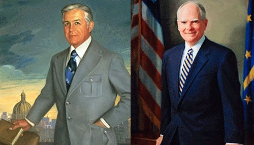 Republican Edgar Whitcomb (pictured left) served as Indiana Governor from 1969-1973. Democratic Governor Joe Kernan (pictured right) served as Indiana governor from 2003-2005, finishing out the term of Frank O'Bannon, who died while in office.