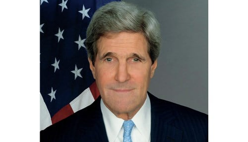 School officials say Kerry is the first sitting secretary of state to visit IU in 20 years.