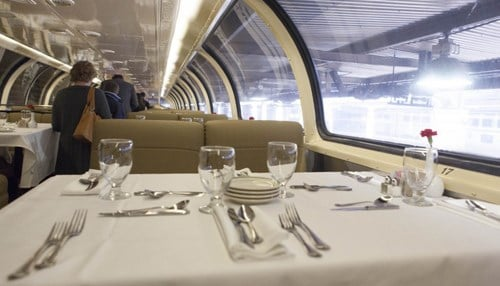 Amenities in the new business-class include white tablecloth dining.