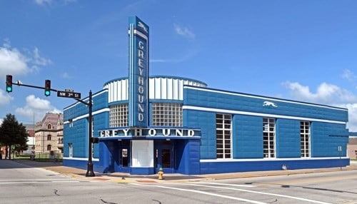 (Photo of Greyhound bus terminal after restoration courtesy of Lee Lewellen.)