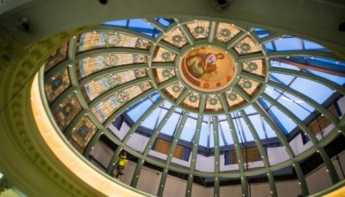 The project includes the restoration of the hall's historic dome.