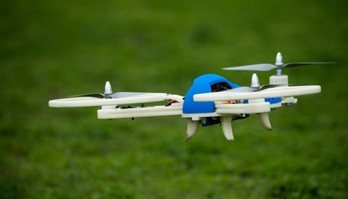 (Image of an unmanned aerial vehicle built by Indiana State University students using 3D printing technology courtesy of ISU.)