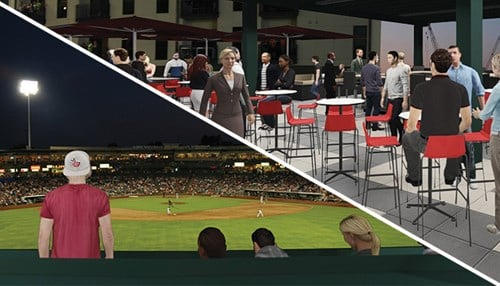 (Rendering provided by the Fort Wayne TinCaps) The Summit will sit atop the Tuthill 400 Club structure in the centerfield seating area at Parkview Field.