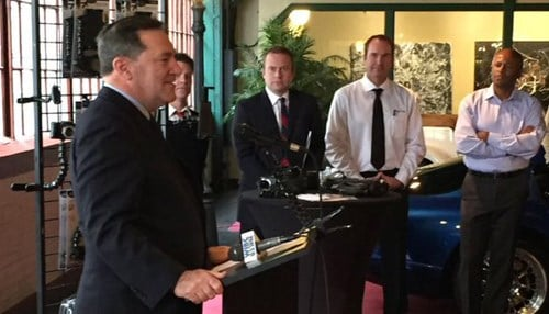 Senator Joe Donnelly (pictured left) made the SBA partnership announcement Friday during an event at Stage Ninja, a company located at the Stutz Building in Indianapolis.