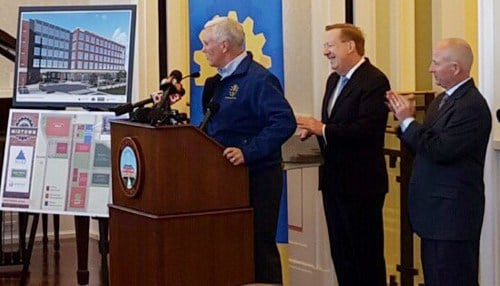 Thursday's announcement featured Governor Mike Pence, Carmel Mayor Jim Brainard and Allied Solutions President Pete Hilger.