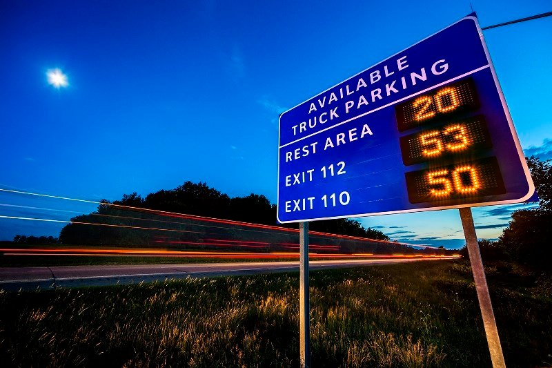 The location and number of open spaces will be displayed on signs along the interstate.
