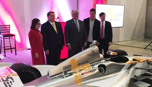 (L to R): D-A Lubricant President Gisela Miller, CEO Mike Protogere, Hulman & Co. CEO Mark Miles, Graham Rahal and IMS President Doug Boles