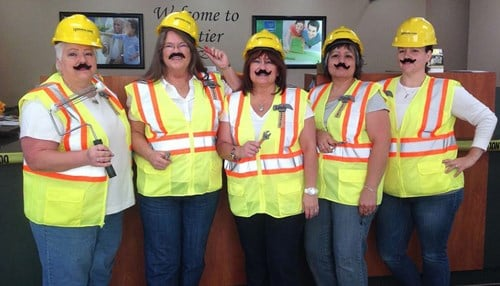 """(Image Courtesy of Centier Bank.) Centier includes """"fun"""" as one of its company-wide core values. Last year, employees in Valparaiso dressed-up to promote home improvement loans."""
