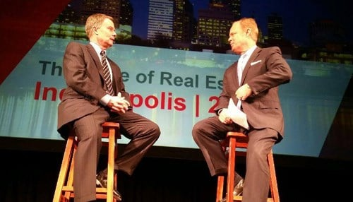 (Image of Indianapolis Mayor Joe Hogsett and Inside INdiana Business Host Gerry Dick courtesy of Cushman & Wakefield.)