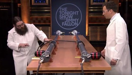 Kevin Delaney demonstrated the cannons for Tonight Show Host Jimmy Fallon.