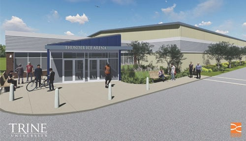 A rendering of the main entrance to the new Thunder Ice Arena, which will be built on the southwest portion of the Trine University campus.