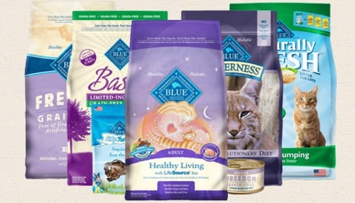 Blue Buffalo makes natural cat and dog food and treats, which are sold nationwide.