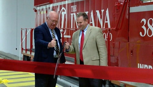 Jack Schwarz (left) and Peter Mills cut the ribbon Wednesday on the new facility.