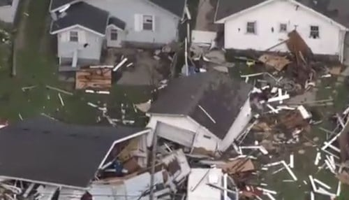 (Aerial image of storm damage in Kokomo courtesy of WTHR-TV)