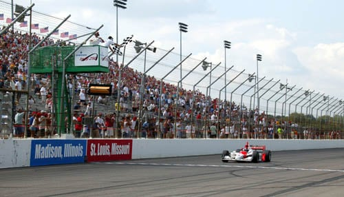 Helio Castroneves won the last Verizon IndyCar Series race at Gateway Motorsports Park in 2003. (photo courtesy INDYCAR/LAT USA)
