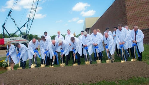 University officials broke ground on the Health and Human Services facility project.