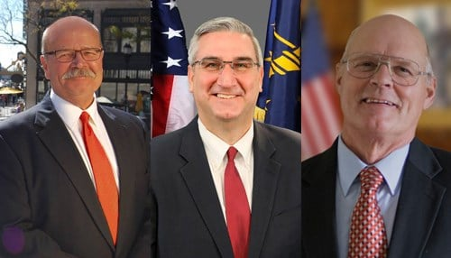 (L to R) John Gregg (D), Eric Holcomb (R) and Rex Bell (L)