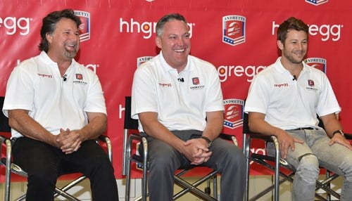 Michael Andretti, hhgregg CEO Robert Riesbeck and Marco Andretti announced their partnership extension last month. (photo courtesy INDYCAR/LAT USA)