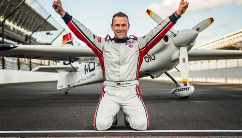 Matthias Dolderer from Germany took the victory at the first Red Bull Air Race at the Indianapolis Motor Speedway.