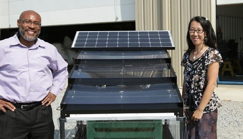 (Image Courtesy of Purdue Research Foundation) Klein and Reiko Illeji launched JUA Technologies International LLC, a solar powered crop-drying technology startup, with Purdue technology.