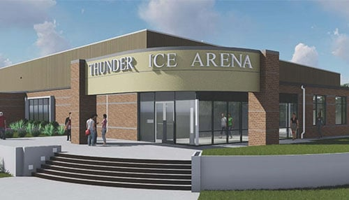 The youth hockey program will be housed in the Thunder Ice Arena, which is currently under construction.