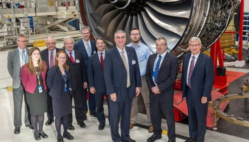 Holcomb met with representatives from Rolls-Royce Corp. in Derby, England earlier this week.
