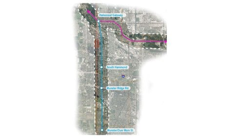(Image of planed West Lake Corridor Expansion of the South Shore commuter rail line provided by the Northwest Indiana Regional Development Authority.)