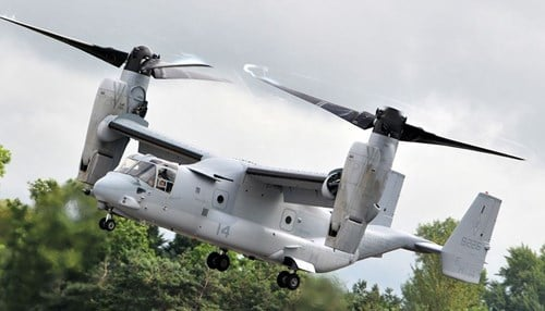 The Rolls-Royce engine powers the Bell-Boeing V-22 Osprey helicopter. (photo courtesy Boeing)