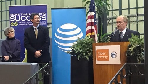 (L to R) Delaware County Commissioner Sherry Riggin, AT&T Director of External Affairs Jim Tackett, and Muncie Mayor Dennis Tyler.  (photo courtesy AT&T)