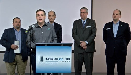 ClearObject CEO John McDonald (podium) will add a second location inside the IoT Lab.