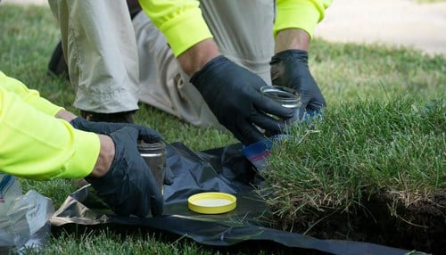 EPA workers collected soil samples near the complex. (photo courtesy EPA)