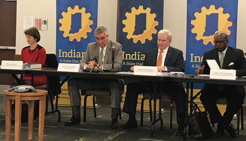From Left-to-Right: IEDC President Elaine Bedel, Governor Eric Holcomb, Secretary of Commerce Jim Schellinger and IEDC Board Member John Thompson.