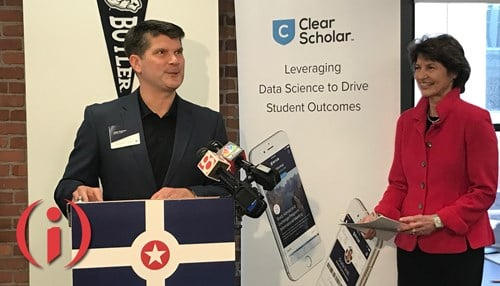 Pitcured from left to right at Wednesday's announcement: ClearScholar CEO Jason Konesco and Indiana Economic Development Corp. President Elaine Bedel.