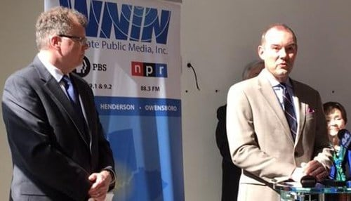 (Image courtesy of WNIN) President Brad Kimmel (left) and Vice President Tim Black (right) detailed the public phase of the Move to Main fundraising campaign earlier this month.