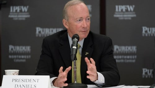 Purdue President Mitch Daniels announced the acquisition of Kaplan University in April 2017.