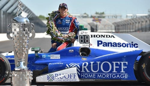 Sato is the first Japanese winner of the Indy 500. (photo courtesy Indianapolis Motor Speedway)