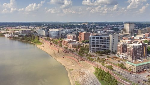 "(Image of downtown Evansville courtesy of the ""e is for everyone"" campaign.)"