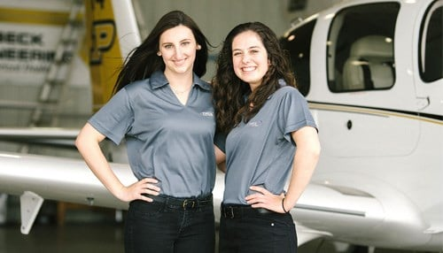 Pilot Mary McCarty (left) and co-pilot Alyssa Harvey comprise one of the Purdue teams in the race.