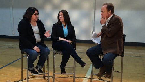 Julie Warnecke (pictured left) and Robin Fleming (pictured center) were part of the first Indianapolis Tech Town Hall on Inside INdiana Business Television.