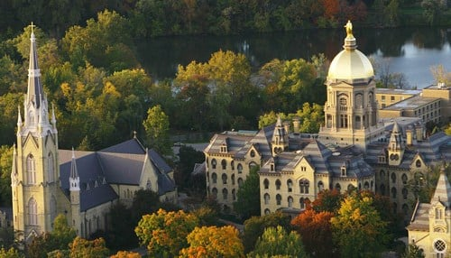 The University of Notre Dame is the highest-ranking Indiana school on the list. (photo courtesy University of Notre Dame)