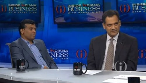 Infosys President Ravi Kumar (left) and Purdue Executive Vice President Suresh Garimella appeared in an interview last year on Inside INdiana Business Television.
