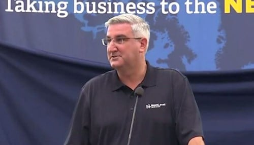 The trip marked Holcomb's seventh economic development trip as governor.