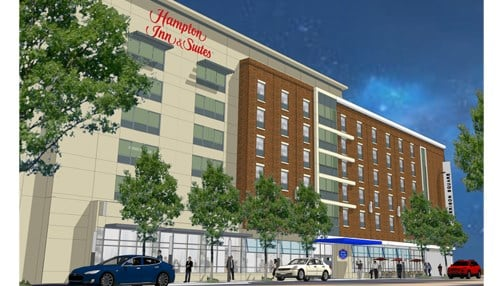 Construction is currently underway on a Hampton Inn & Suites hotel in Fort Wayne.