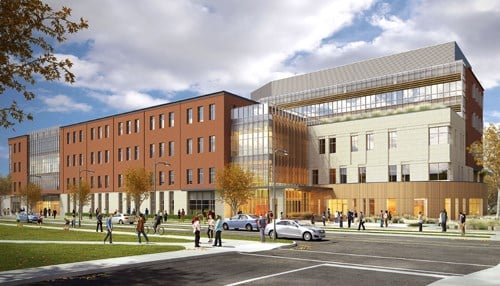 The program will be housed in the Health Professions Building, which is currently under construction. (rendering courtesy Ball State University)