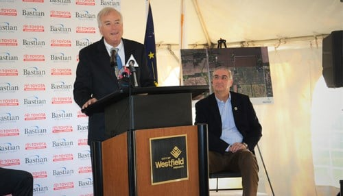 Westfield Mayor Andy Cook (podium) and Governor Eric Holcomb took part in Monday's announcement. (photo courtesy city of Westfield)